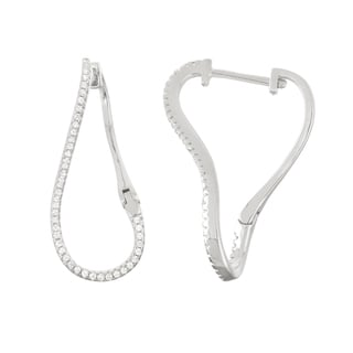 Gioelli Sterling Silver Cubic Zirconia Twist Trend Hoop Earrings