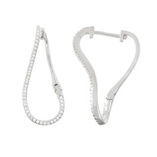Gioelli Sterling Silver Cubic Zirconia Twist Trend Hoop Earrings