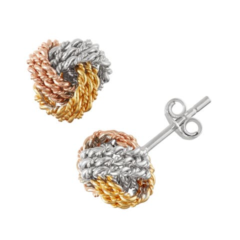 Gioelli Tri-color Gold over Silver Wired Love Knot Earrings