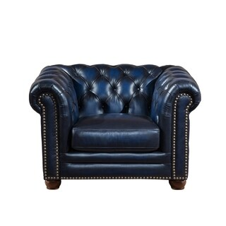 Nebraska Tufted Genuine Leather Chesterfield Armchair With Feather Down  Seating
