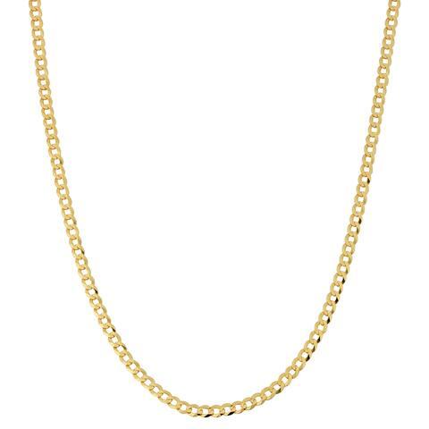 Fremada 10k Yellow Gold 3-mm High Polish Curb Link Chain (16 - 30 inches)