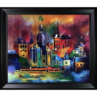 Pol Ledent 'Dinant 8851' Hand Painted Framed Canvas Art