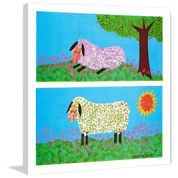 Shop Marmont Hill Happy Sheep By Curtis Painting Print On Canvas