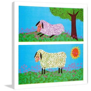 Marmont Hill 'Happy Sheep' by Curtis Painting Print on Canvas