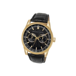 Geoffrey Beene Men's GB8027GDBK Black Strap Goldtone Case Watch