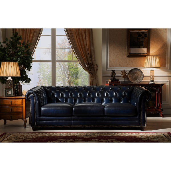 Ordinaire Nebraska Tufted Genuine Leather Chesterfield Sofa With Feather Down Seating
