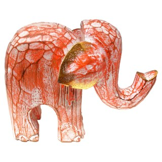 Colorful Elephant Albesia Wood Statue with Crackle Wash (Indonesia) (Option: Orange - 4)