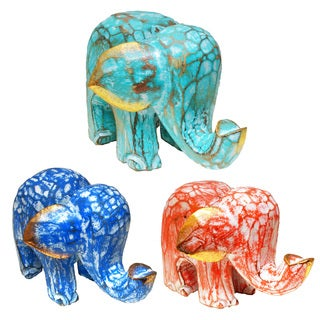 Colorful Elephant Albesia Wood Statue with Crackle Wash (Indonesia)