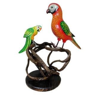 Handmade Parrot and Baby Perched on Carved Branch Decorative Figurine (Indonesia)