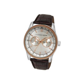 Geoffrey Beene Men's GB8027RGBR Brown Strap Rose Goldtone Bezel Watch