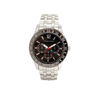 Geoffrey Beene Men's GB8044SLBK Silvertone Bracelet Black Aluminum Bezel and Sunray Dial Watch