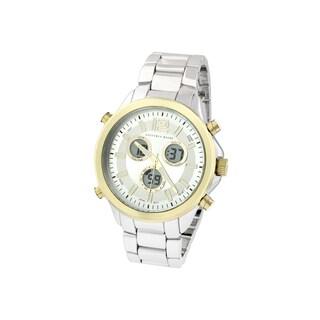 Geoffrey Beene Men's GB8050TTG Silvertone Bracelet Goldtone Bezel Multifunction Analog/ Digital Watch