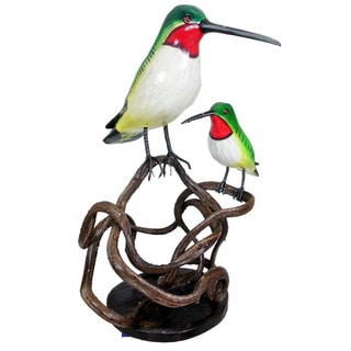 Handmade Perched Humming Bird and Baby on Branch Decorative Figure (Indonesia)