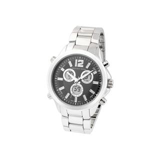 Geoffrey Beene Men's GB8050SLBK Silvertone Bracelet Black Dial Multifunction Analog/ Digital Watch