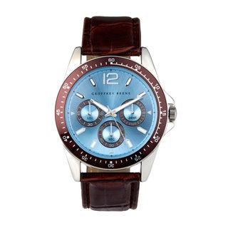 Geoffrey Beene Men's GB8067SLBNLB Brown Strap Silvertone Case with Brown Aluminum Bezel Watch