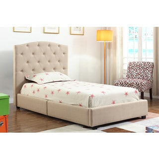 ABBYSON LIVING Delburne Beige Tufted Twin Bed