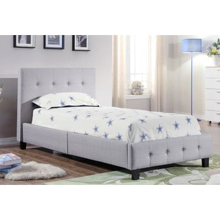 ABBYSON LIVING York Grey Tufted Twin Bed