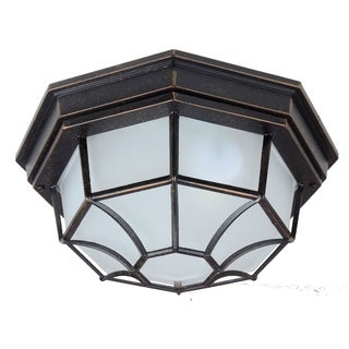 Megan Exterior Flush Mount Outdoor Oil Rubbed Bronze Finish Light Fixture with Frosted Glass