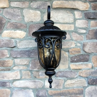 Hailee Oil Rubbed Bronze Outdoor Light Fixture with Gold Stone Glass