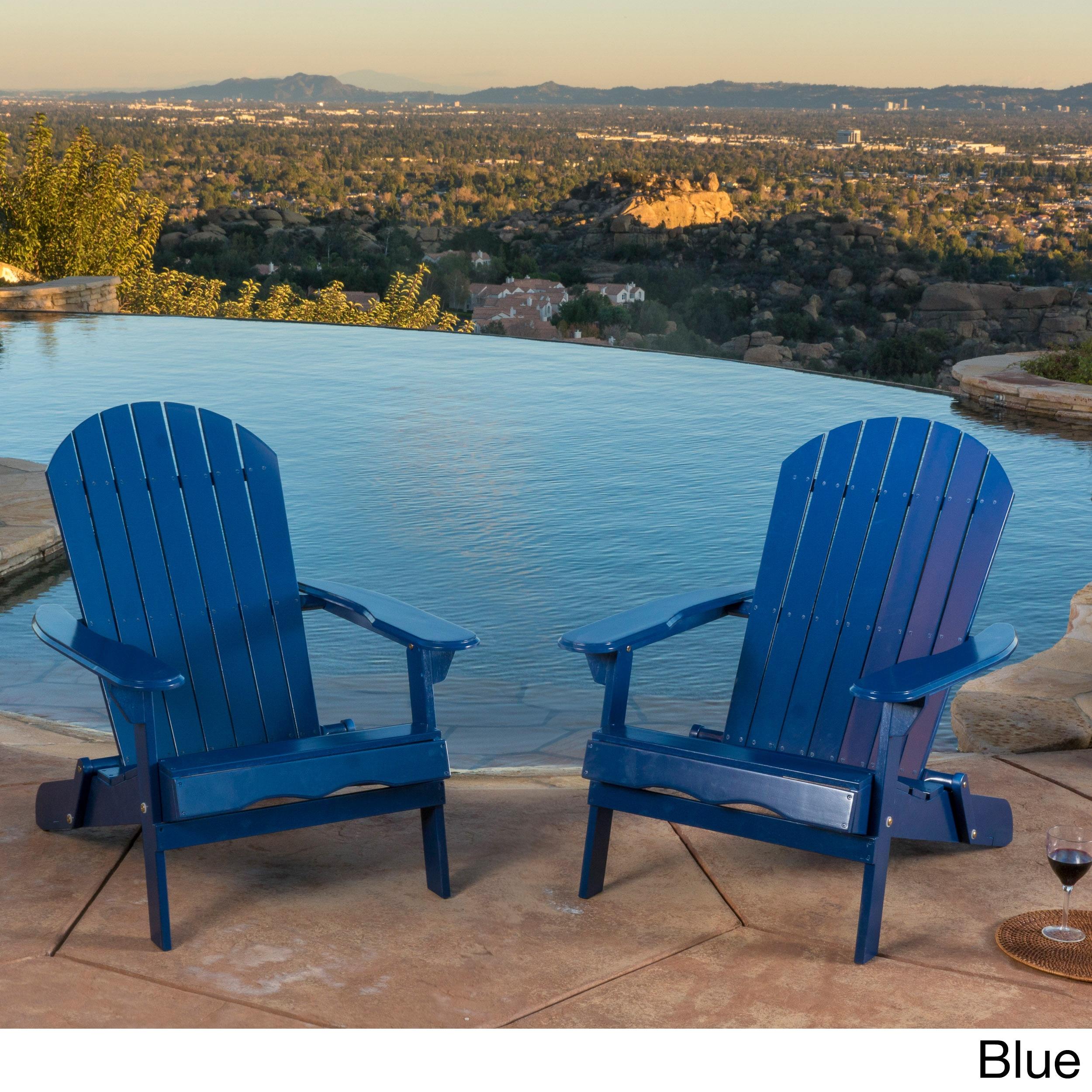 Hanlee Outdoor Folding Wood Adirondack Chair Set Of