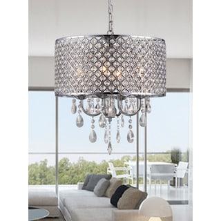 Oisetta 4 light Chrome Finish Crystal 17 Inch Round Chandelier
