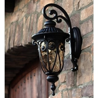 Hailee Exterior Outdoor Light Fixture Oil Rubbed Bronze Finish with Gold Stone Glass