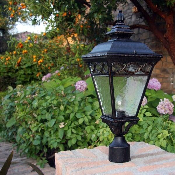 Black Led Solar Powered 5 Ft Traditional Garden Lamp Post: Cheri Oil Rubbed Bronze Outdoor Lamp Post Light Fixture