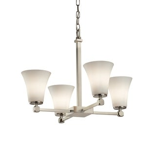 Justice Design Group Fusion Tetra 4-light Nickel Chandelier with Opal Shades