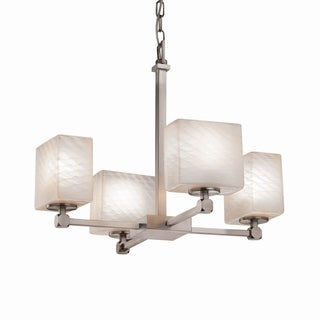 Justice Design Group Fusion Tetra 4-light Nickel Chandelier with Weave Shades