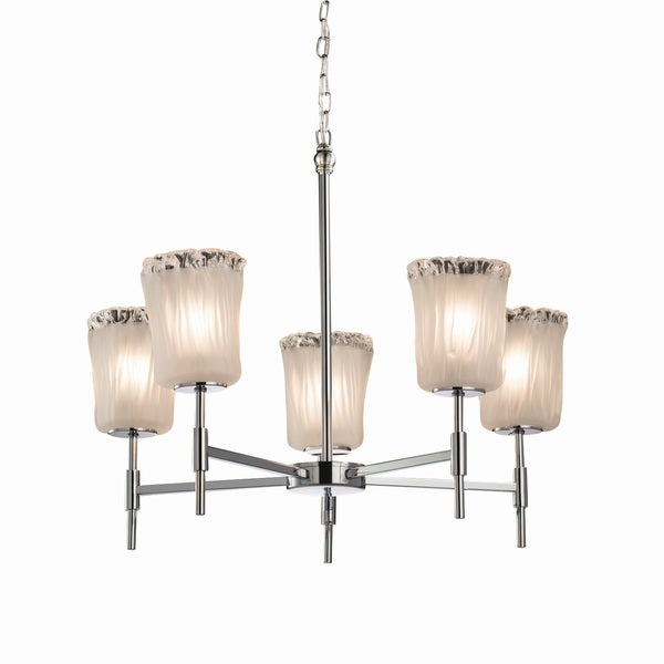Justice Design Group Veneto Luce Union 5-light Polished Chrome Chandelier, White Frosted Cylinder - Rippled Rim Shade