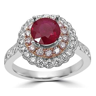 Noori 14k Two-tone Gold 1ct TGW Ruby and 3/5ct TDW Diamond Engagement Ring (G-H, SI1-SI2)