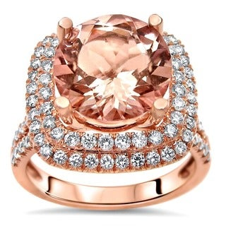 Noori 14k Rose Gold 3ct TGW Morganite and 4/5ct TGW Diamond Engagement Ring (F-G, SI1-SI2)