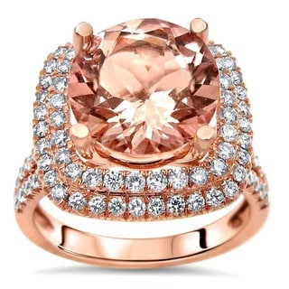 Noori 14k Rose Gold 3ct TGW Morganite and 4/5ct TGW Diamond Engagement Ring (F-G, SI1-SI2)