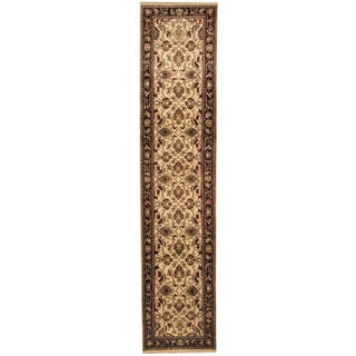 Herat Oriental Indo Hand-knotted Mahal Ivory/ Black Wool Runner (2'8 x 12')