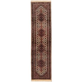 Herat Oriental Indo Hand-knotted Bidjar Ivory/ Black Wool Runner (2'7 x 9'10)