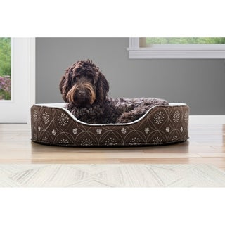 FurHaven Printed Flannel Oval Pet Bed