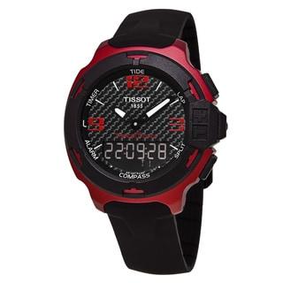 Tissot Men's T081.420.97.207.00 'T-Race Touch' Carbon Fiber Dial Black Rubber Strap Red Aluminum Swiss Quartz Watch