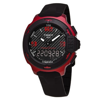 Tissot Men's T081.420.97.207.00 'T-Race Touch' Carbon Fiber Dial Black Rubber Strap Red Aluminum Swiss Quartz Watch
