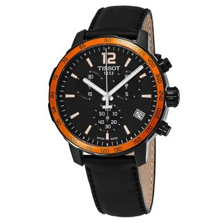 Tissot Men's T095.417.36.057.01 'Quickster' Black Dial Black Leather Strap Chronograph Swiss Quartz Watch