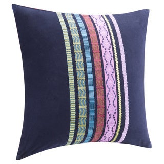 Josie by Natori Katina Bohemian Navy Embroidered Cotton 26 x 26-inch Euro Sham with Hidden Zipper Closure