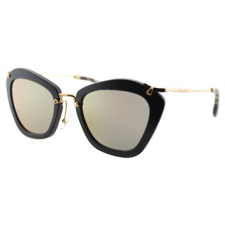 Miu Miu MU 10NS 1BO2D2 Nior Black Sand Plastic Cat-Eye Rose Gold Mirror Lens Sunglasses
