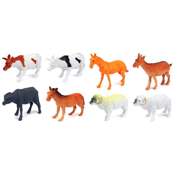 Velocity Toys Farm Animals 8-piece Toy Animal Figures Playset