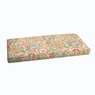 Red Rio Floral Indoor/ Outdoor Corded Bench Cushion