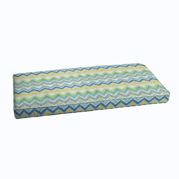 Blue Chevron Indoor Outdoor Corded Bench Cushion Free Shipping Today 11702781