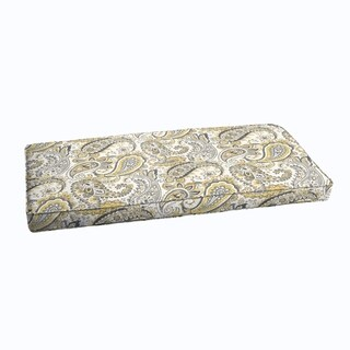 Grey Gold Paisley Indoor/ Outdoor Corded Bench Cushion