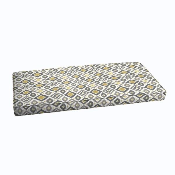 Grey Gold Diamonds Indoor Outdoor Corded Bench Cushion