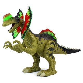 Velocity Toys Cretaceous Dilophosaurus Battery Operated Walking Dinosaur (Colors May Vary)