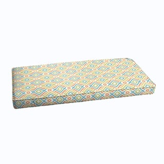 Blue Green Geometric Indoor/ Outdoor Corded Bench Cushion