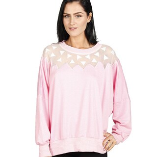 JED Women's Laser Cut Mesh Detailed Long Sleeve Top