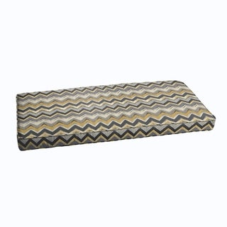 Grey Gold Chevron Indoor/ Outdoor Corded Bench Cushion